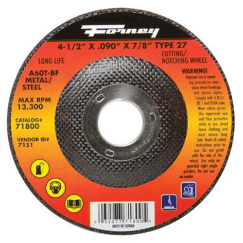 "Forney Industries ""Type 27"" Steel Cut Off Wheel 4-1/2""x.090""x7/8"" at Sears.com"