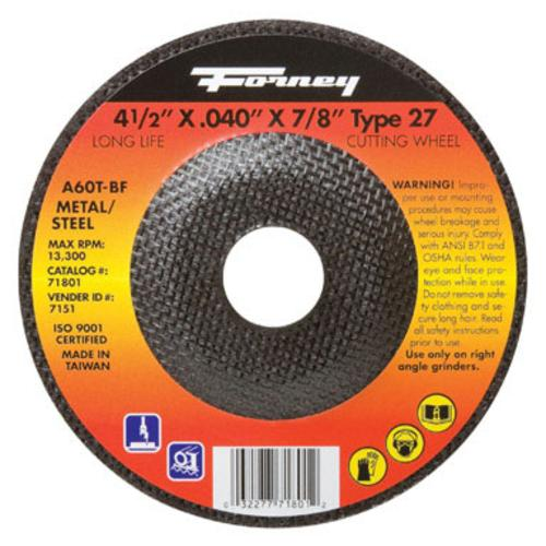 "Forney Industries ""Type 27"" Steel Cut Off Wheel 4-1/2""x.040""x7/8"" at Sears.com"
