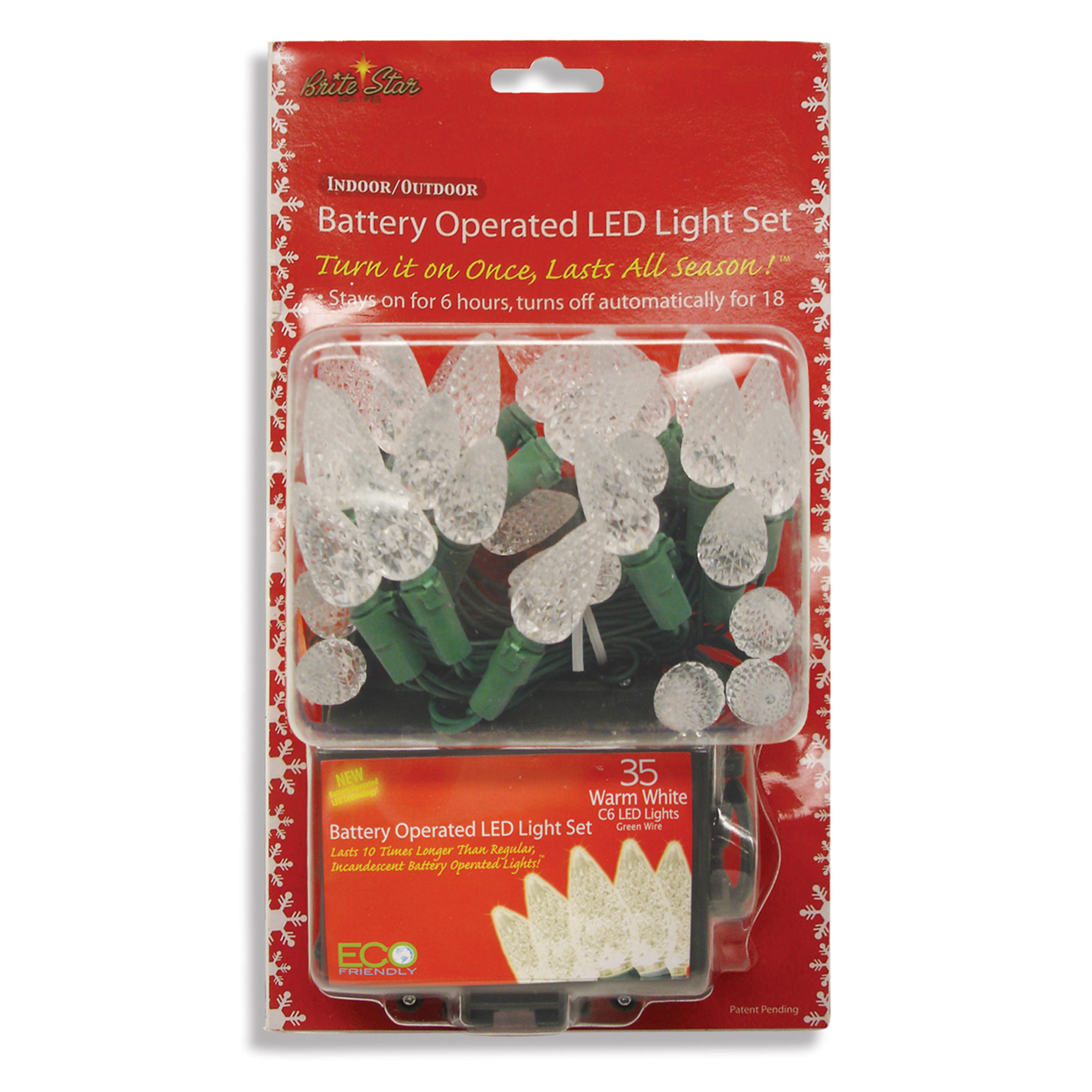 Brite Star 41-622-23 C6 Battery Operated LED Lights Set, 35 Warm, White