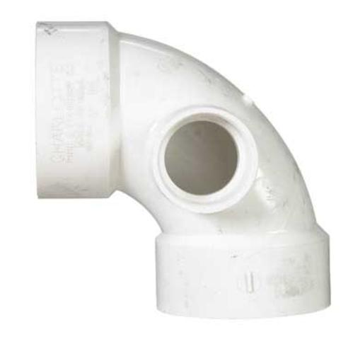"Charlotte Pipe & Found Pvc 90 Degree Elbow With Side Inlet 3"" X 3"" X 1-1/2"" at Sears.com"
