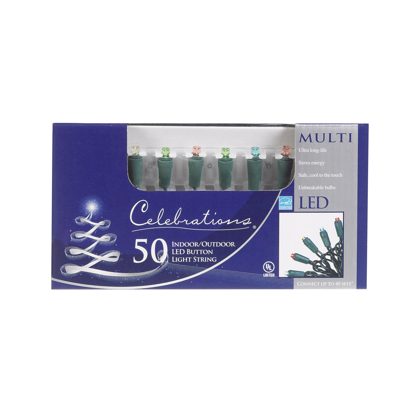 CELEBRATIONS 47621-71 LED Button Light Set, 17', 50 Multi-Color Lights, at Sears.com