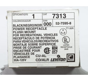 Leviton B00-07313-000 Flush Mount Power Receptacle, 30 Amp