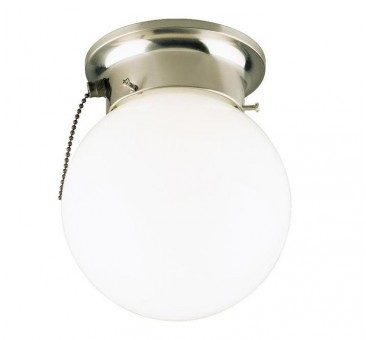 Westinghouse 67208 Interior Flush Mount Ceiling Fixture With Pull Chain, 6""