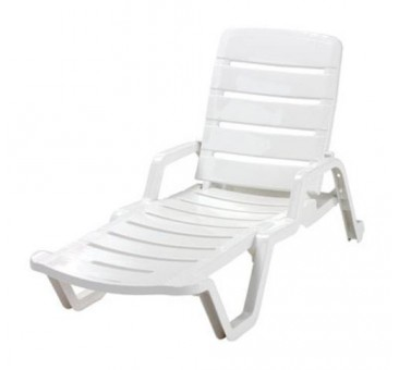 "Adams 8010-48-3700 5-Position Chaise Lounge 65""x27""x36.75"" - White"
