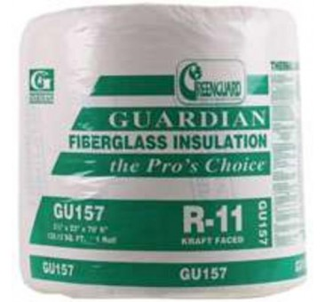 "Guardian Building Prod GU157 Fiberglass Rolls Insulation R-11, 23"" x 70.5'"