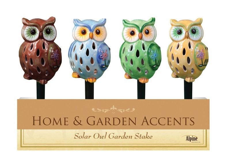 Alpine SUG186ABB 12 Solar Owl Garden Stakes