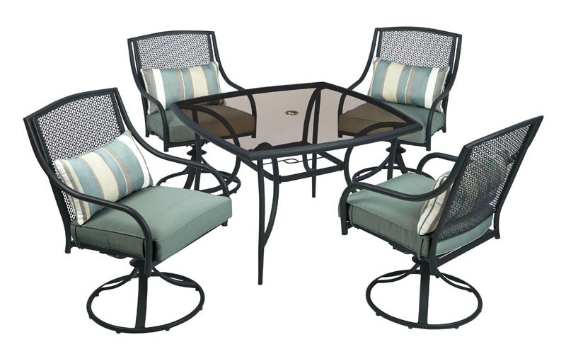 Living Accents RTS534J Addison Stamped Back Swivel Dining Set, 5 Pieces