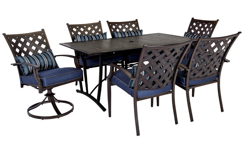 Living Accents STS77L5 Regency Dining Set, Steel, Brown, 7 Pcs