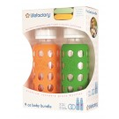 Lifefactory 120008 Baby Bundle Feeding Gift Pack, 9 Oz, Orange/Grass Green