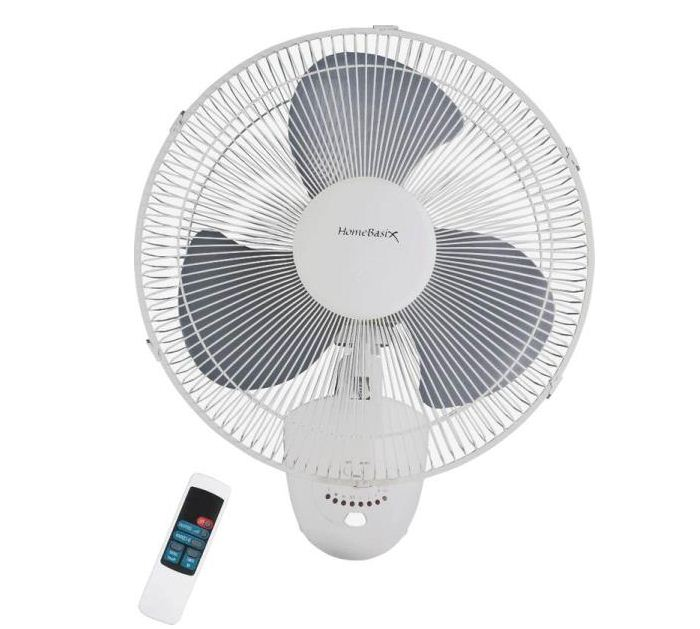 "HOMEBASIX FW40-S1 Oscillating Wall Fan With Remote, 16"", 3 Speed Motor at Sears.com"